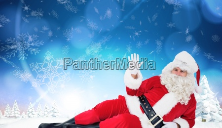 composite image of relaxed santa lying
