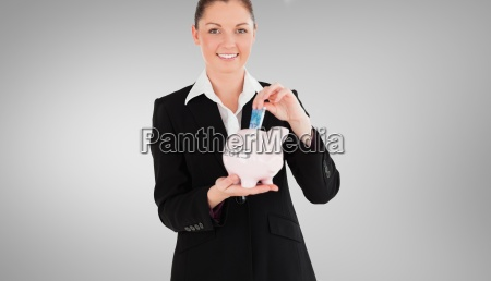 composite image of charming woman in