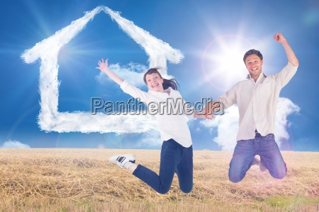 composite image of couple jumping and