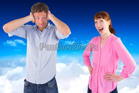 composite image of woman arguing with