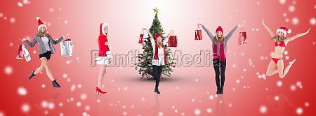 composite image of festive fit blonde