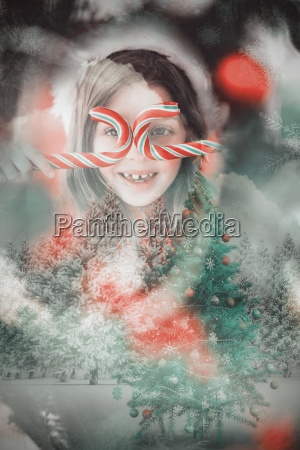 composite image of happy little girl