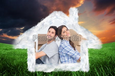 composite image of happy couple sitting