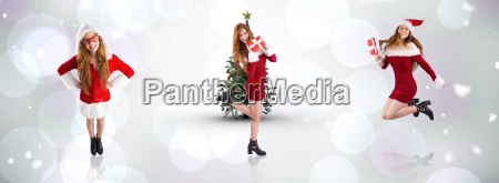 composite image of festive redhead holding