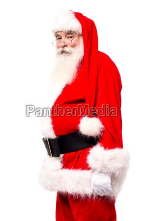 senior man in santa costume side