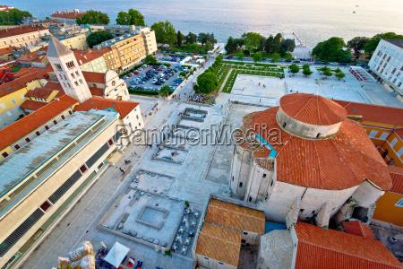 zadar forum square ancient architecture aerial