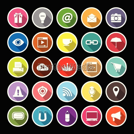 internet website flat icons with long