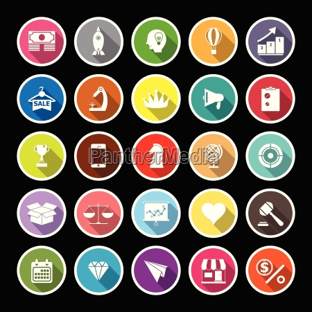 marketing strategy flat icons with long