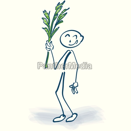 stick figure with palm fronds