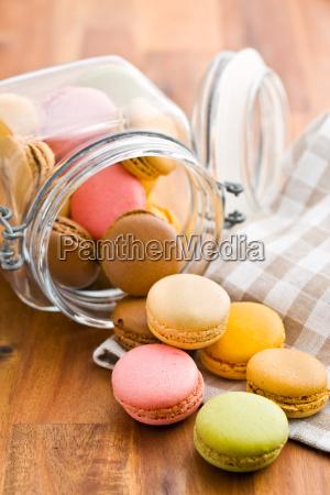 tasty colorful macarons in jar