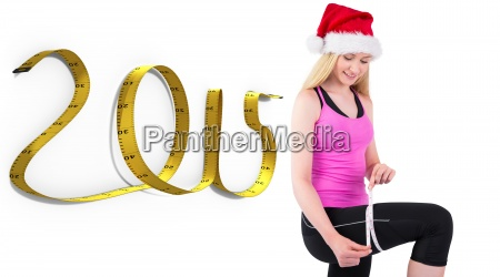 composite image of fit festive young