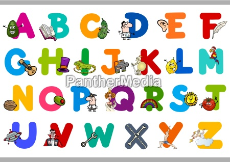alphabet with objects for kids