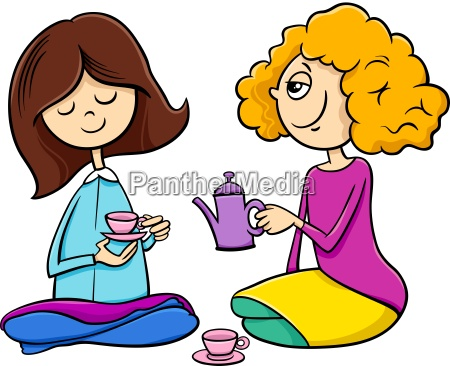girls playing house cartoon