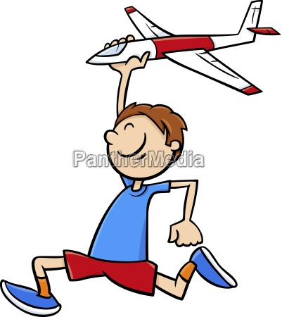boy with toy plane cartoon