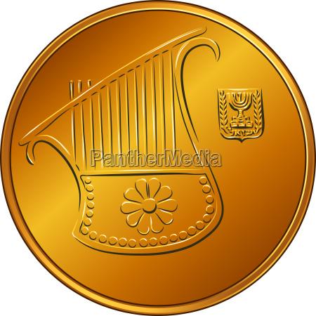 vektor gold israelisches geldgeld halb schekel
