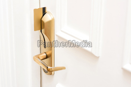 card key inserted in modern door