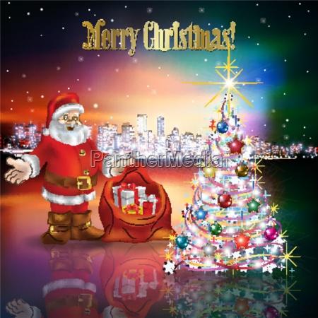 abstrakte, weihnachtsgruß, mit, silhouette, der, stadt - 15446747