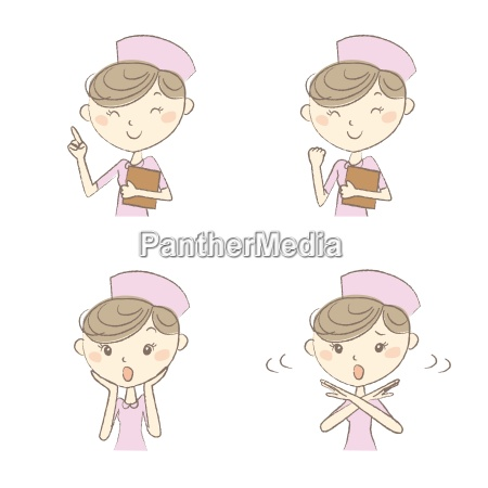 nurse with various expression and poses