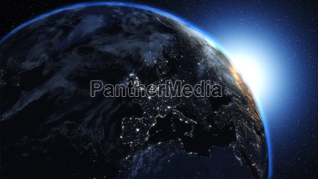 planet earth in universe or space