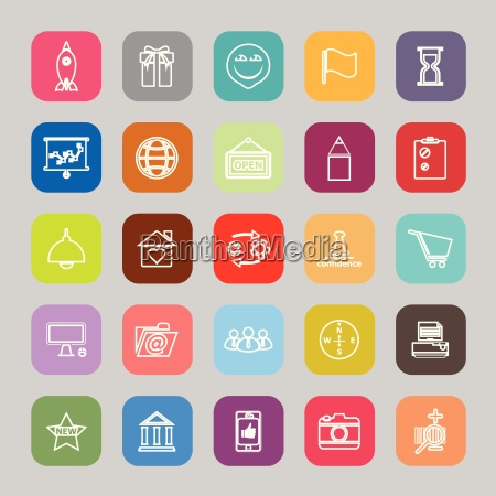 business start up line flat icons