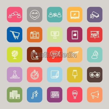 media marketing line flat icons