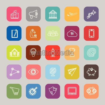startup business line flat icons