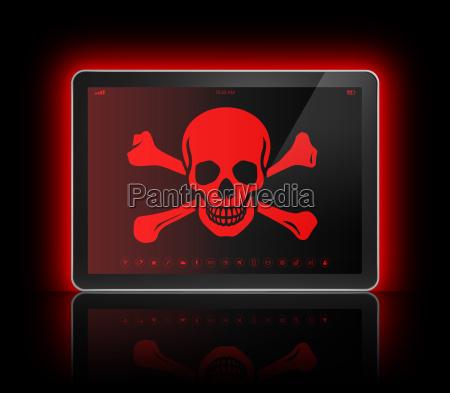 digital tablette mit einem piraten symbol