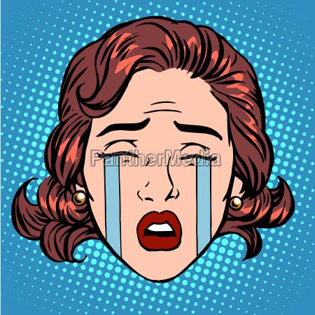 retro emoji traenen weinen trauer frau