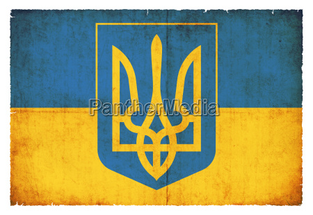 grunge flagge ukraine mit wappen