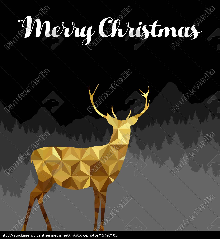Frohe Weihnachten Hindi.Lizenzfreies Bild 15497105 Frohe Weihnachten Hirsch Silhouette Gold Low Poly Karte