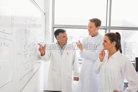 wissenschaftsstudenten und dozent mit blick auf