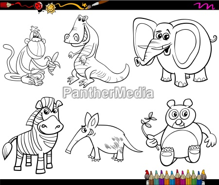 wild animals set coloring page