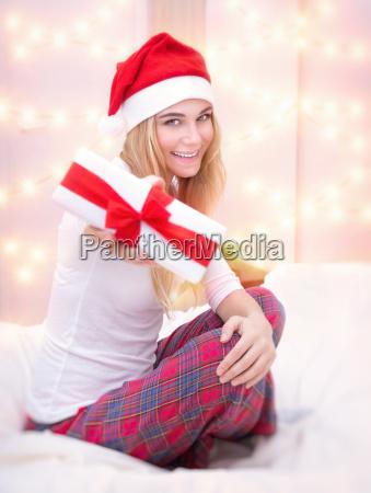 santa girl with gift box