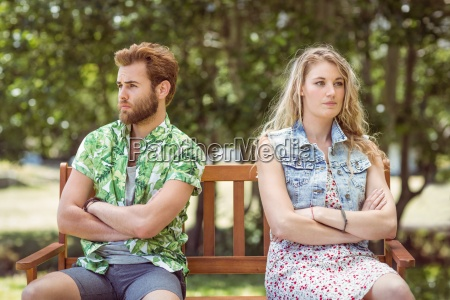 young couple not talking after argument