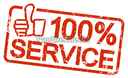red stamp with text 100 service