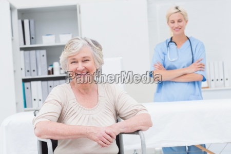 senior patient sitting on wheelchair while