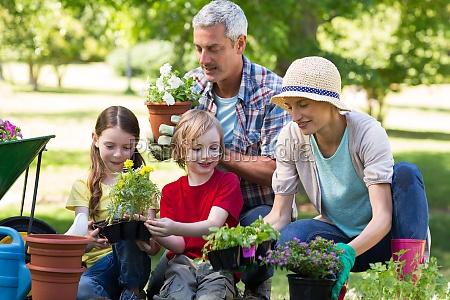 happy family gardening