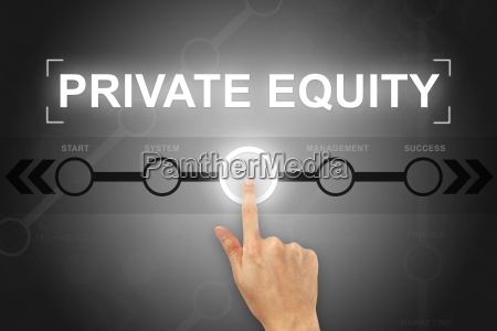 hand clicking private equity button on