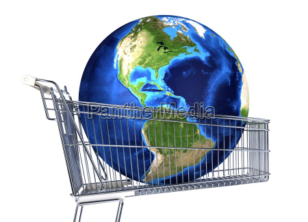 planet earth into supermarket trolley americas