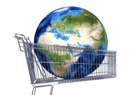 planet earth into supermarket trolley africa
