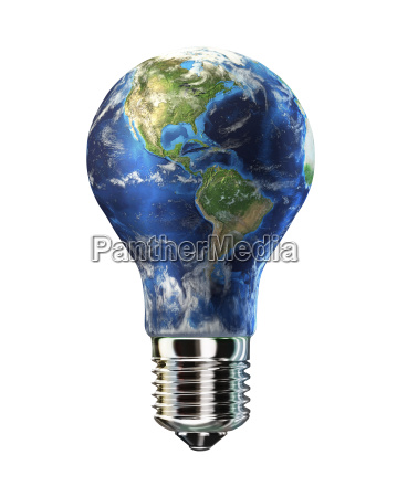 light bulb with planet earth in
