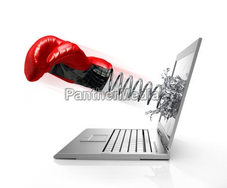 boxhandschuh mit feder von computer bildschirm