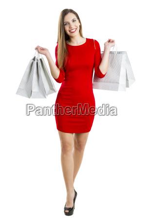frau mit einkaufstueten