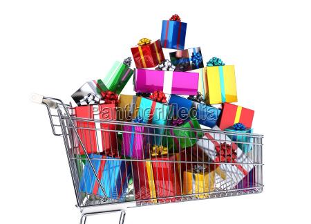 supermarkt einkaufswagen voller viele bunte geschenke