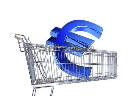 supermarkt trolley mit grossem euro schild