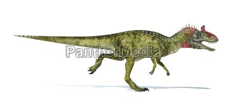 cryolophosaurus dinosaurier fotorealistische darstellung seitenansicht isoliert