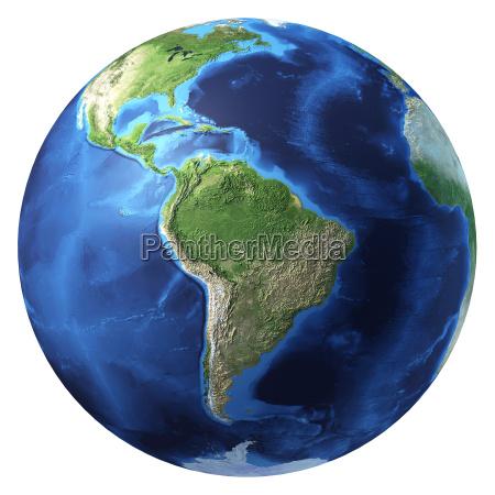 earth globus realistische 3d rendering suedamerika