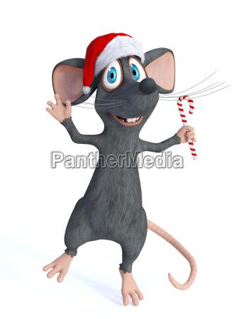 cartoon maus haelt weihnachtszuckerstange