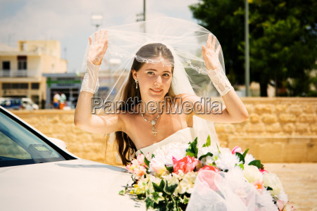 young girl in a wedding dress