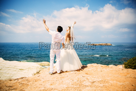 bride and groom standing on the